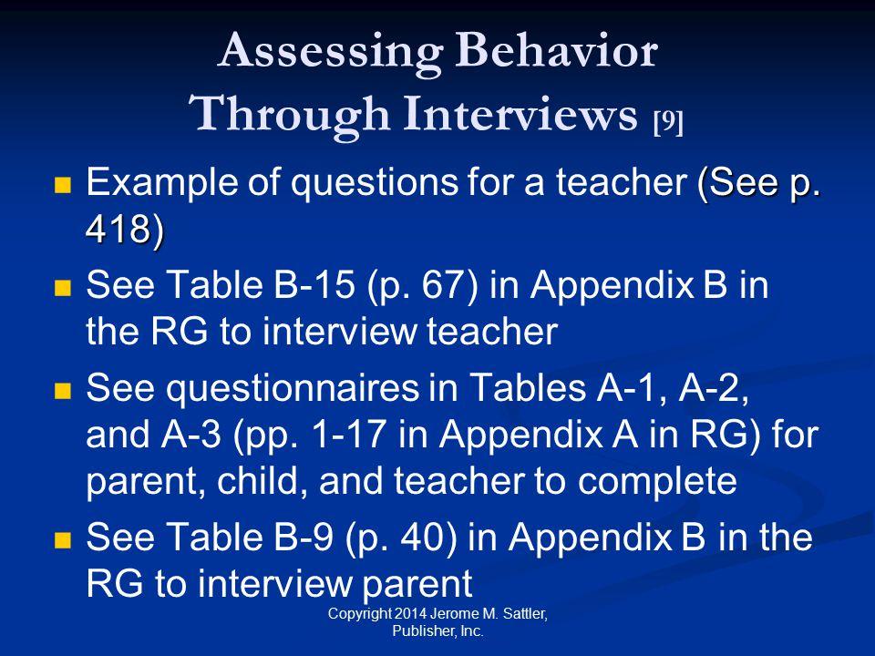 Assessing Behavior Through Interviews [9]